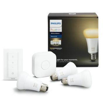 Комплект умных ламп с блоком управления и диммером Philips Hue White ambiance E27