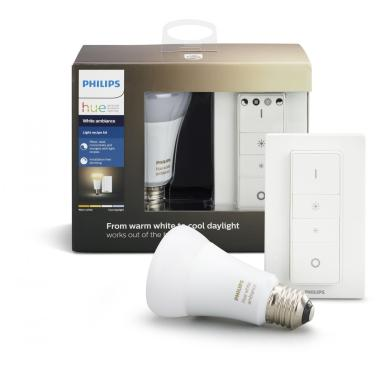 Умная лампа с диммером Philips Hue White ambiance E27