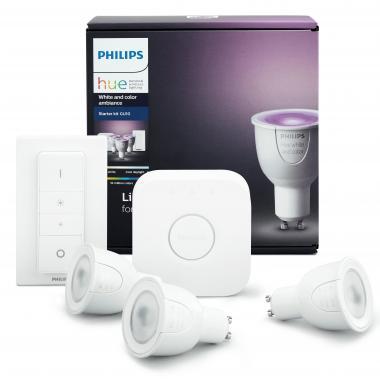 Комплект умных ламп с блоком управления и диммером Philips Hue White and Color ambiance GU10
